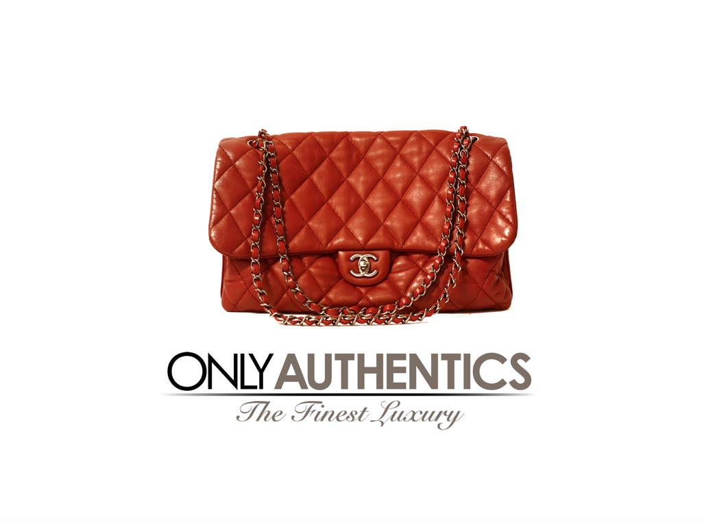 Chanel Red Lambskin Triple Accordion Flap Bag