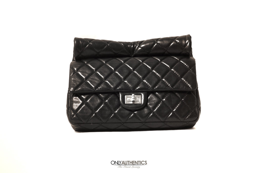 Chanel Black Leather Roll Handle Reissue Clutch