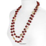 Chanel Red Gripoix and Crystal Long Necklace