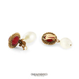 Chanel Red Gripoix and Pearl Drop Earrings