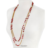 Chanel Red Gripoix and Pearl Long Necklace