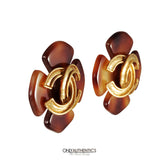 Chanel Tortoise Clover CC Earrings