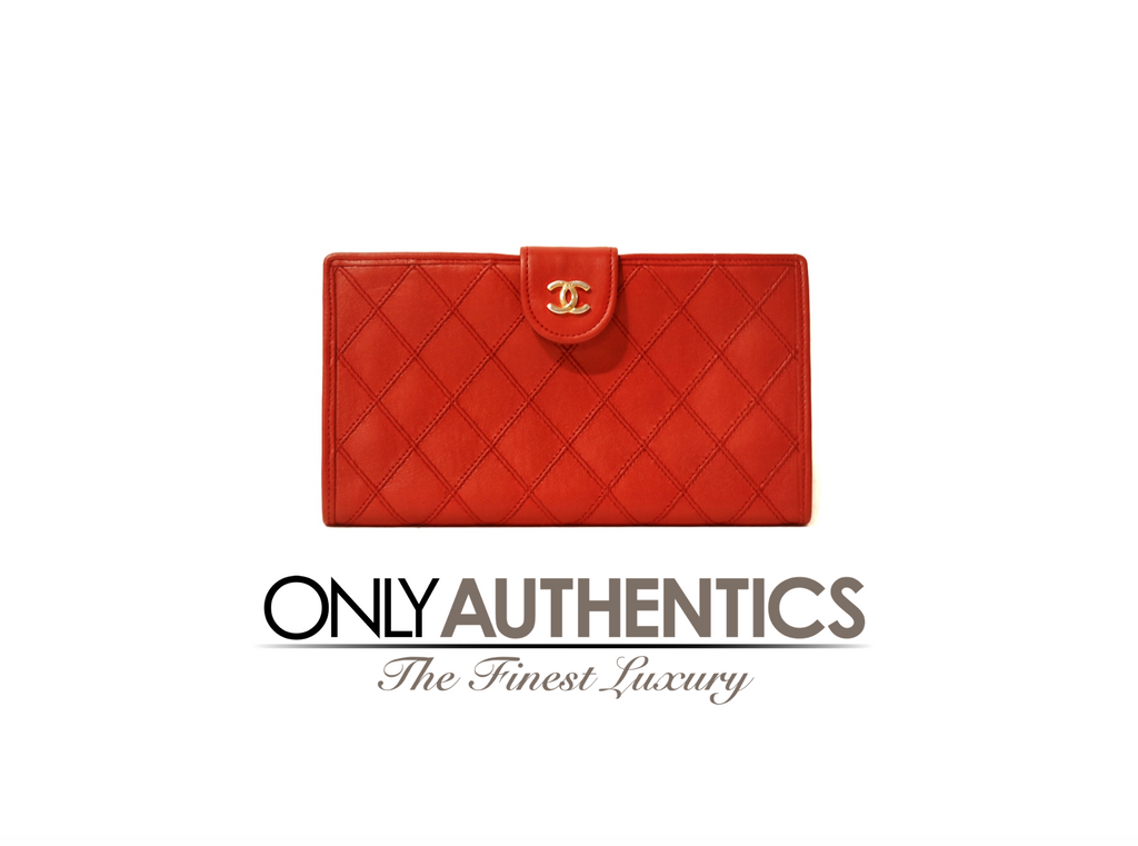 Chanel Red Leather Vintage Wallet
