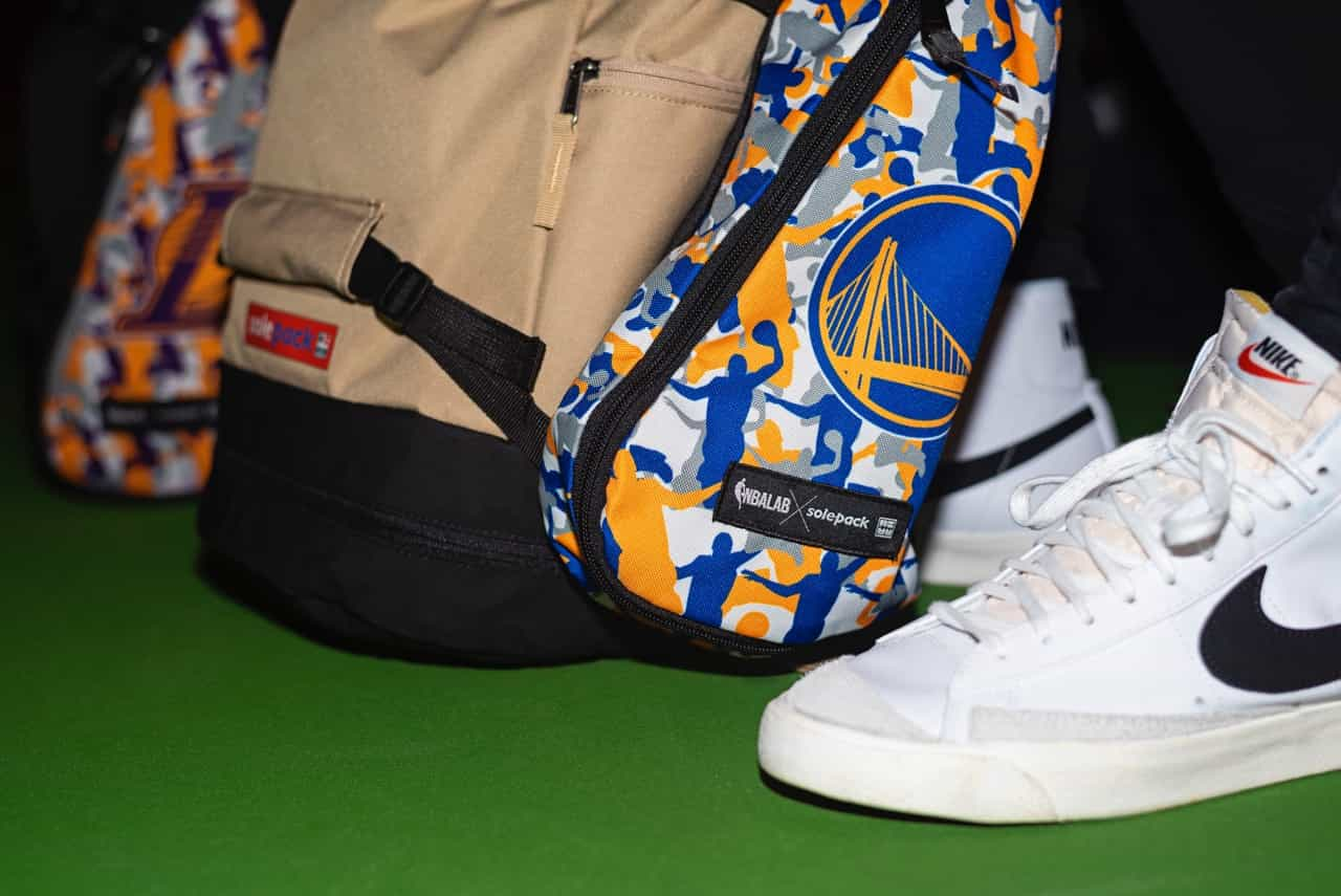golden state warriors x solepack x nbalab sneakerbag