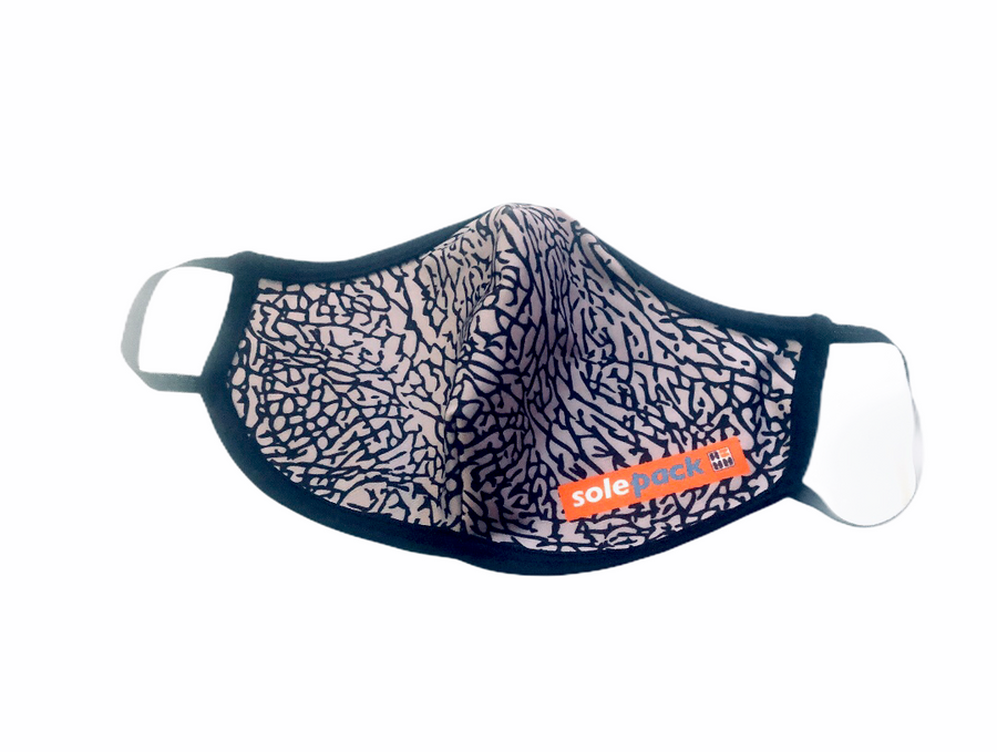 Face Mask Pleated Front- Elephant Print (Adult L & Kids) - Solepack