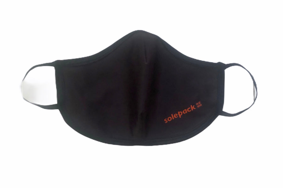 Face Mask Pleated Front- Black (Adult L & Kids) - Solepack