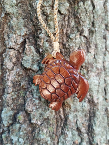 Hawaiian Koa Wood Maori Sea Turtle Necklace - Hand Crafted Koa Wood