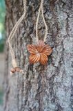 Hawaiian Hand Crafted Koa Wood Hibiscus Flower Necklace