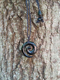 Hawaiian Black Jade Circle Spiral Necklace Carving