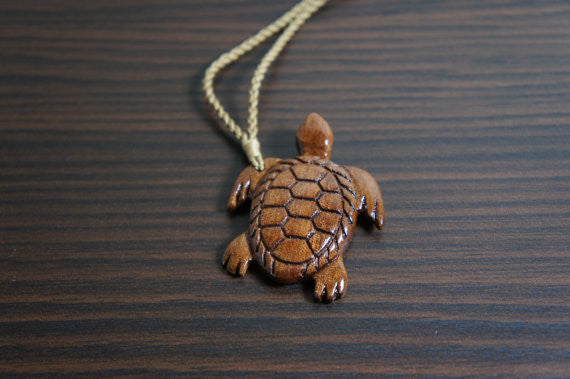 Hawaiian Koa Wood Maori Sea Turtle Necklace Hand Crafted