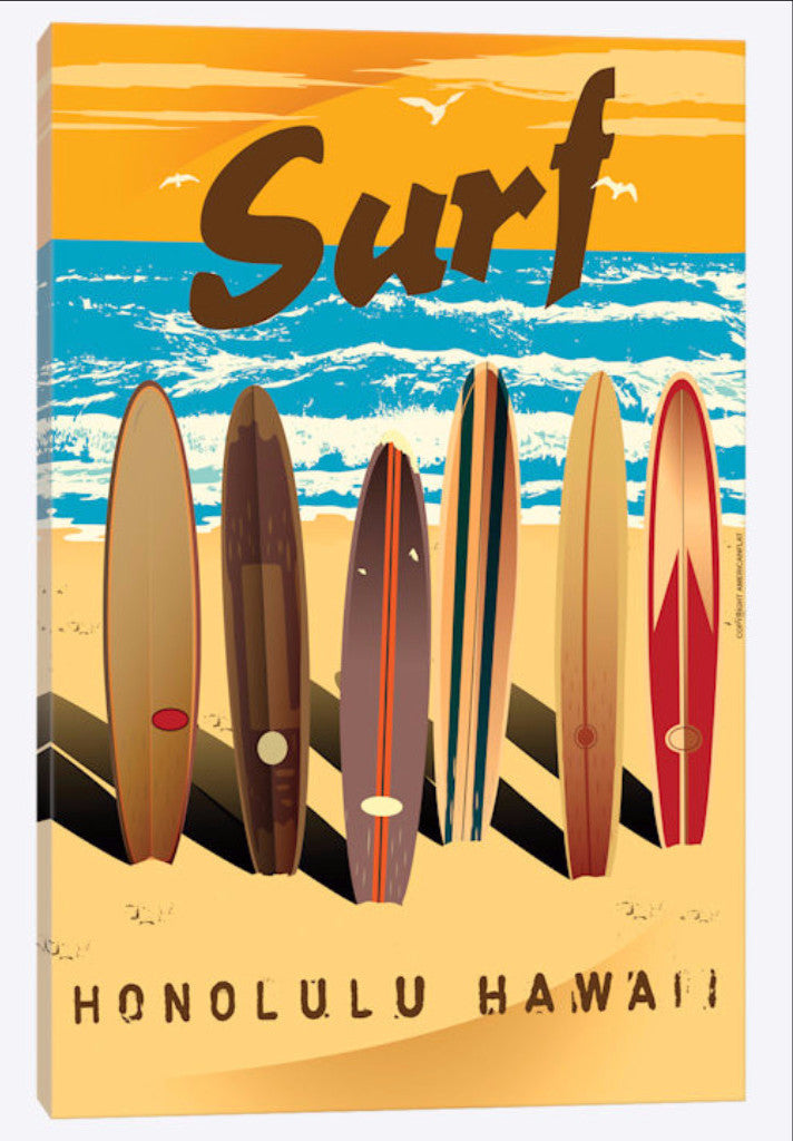 Canvas Print of Vintage Surf Boards