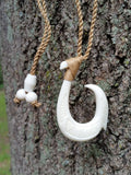 Beautiful Hawaiian Fish Hook Necklace - Single Barbed Hook Bone Carving Design