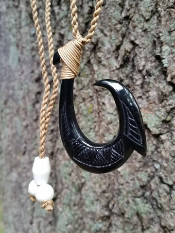 Black Hawaiian Fish Hook Necklace - Single Barbed Hook Bone Carving Design