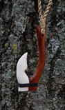 Beautiful Hawaiian Fish Hook Rakau Koa Wood and Ox Bone Combo Necklace Carving Design - Maori Man Necklace
