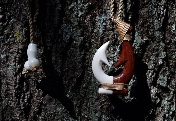 Hawaiian Double Fish Hook Rakau Koa Wood and Ox Bone Combo