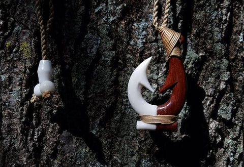 Beautiful Hawaiian Double Fish Hook Rakau Koa Wood and Ox Bone Combo Handcrafted Carving Design