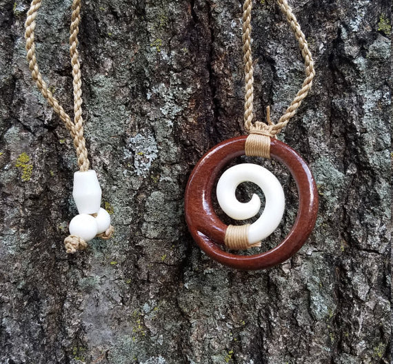 Beautiful Hawaiian Circle Spiral Necklace Carving - Koa Wood and Buffalo Bone - Handcrafted Carving Design