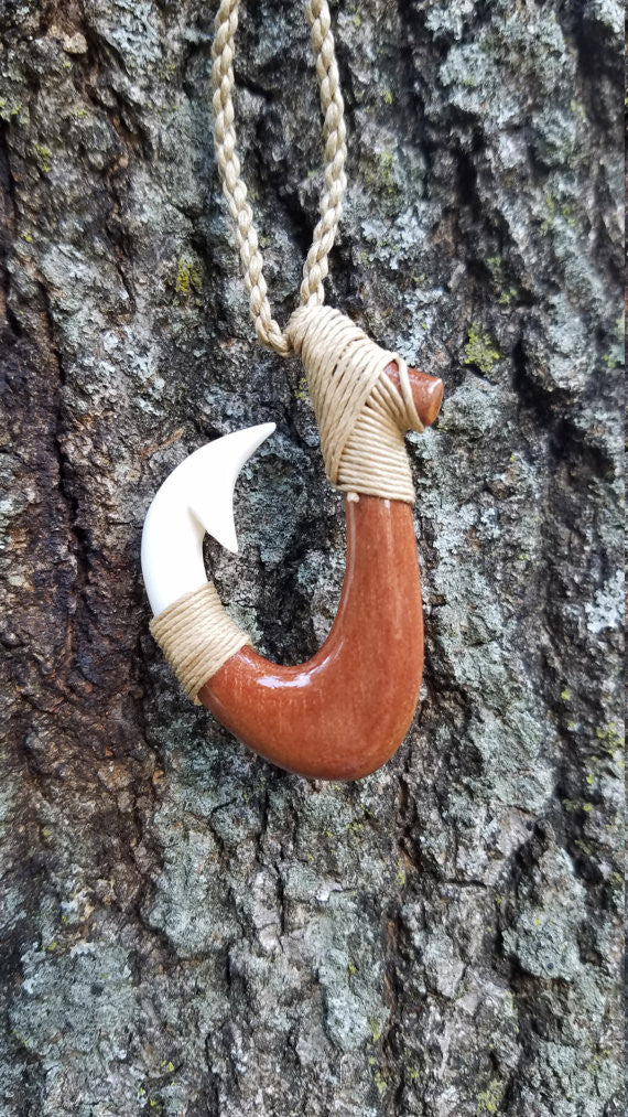 Beautiful Hawaiian Double Fish Hook Rakau Koa Wood and Buffalo Bone Combo Necklace Carving Design - Hawaiian Necklace - Hawaiian Fish Hook