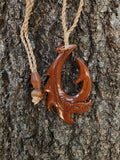 Beautiful Hawaiian Fish Hook Tribal Design Necklace Carving - Koa Wood - Maori Man