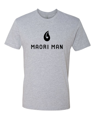 Men's Official Maori Man Gray Tee - Black Graphics