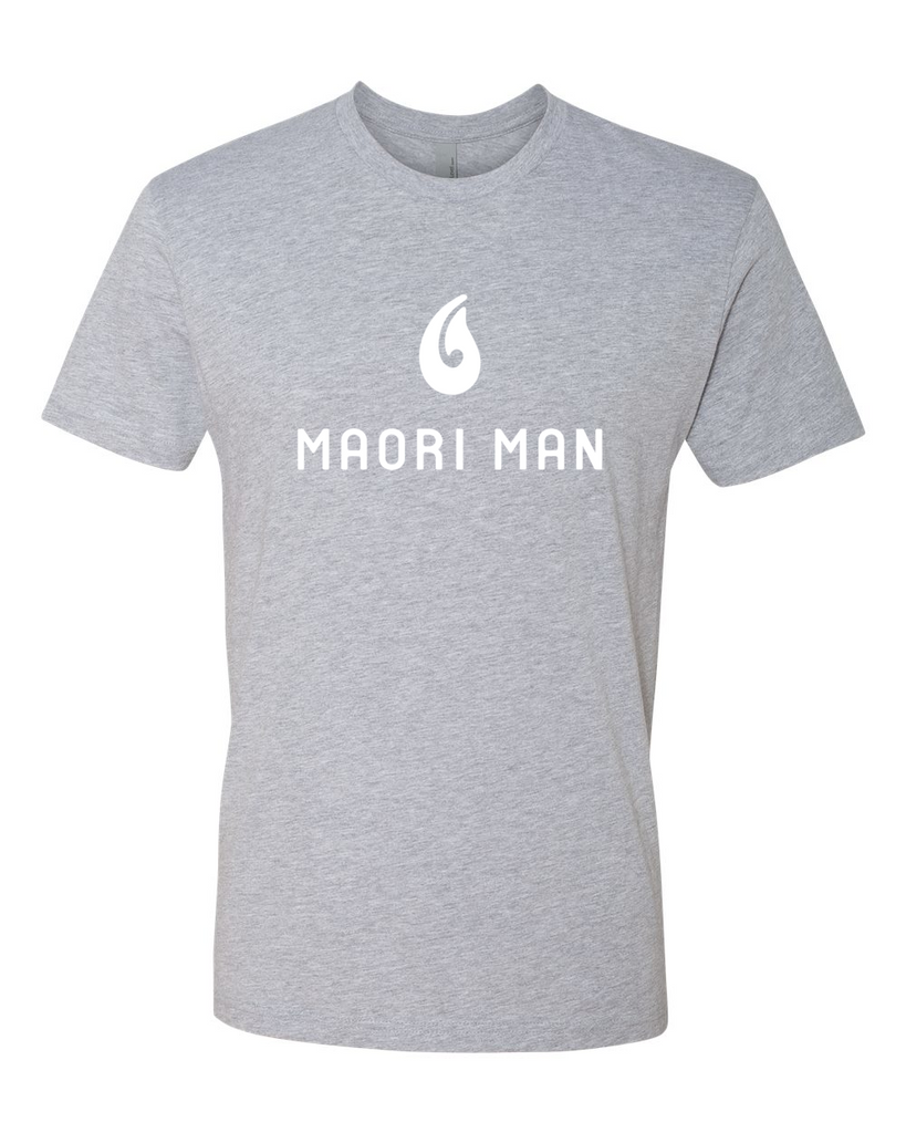 Men's Official Maori Man Gray Tee - White Graphics