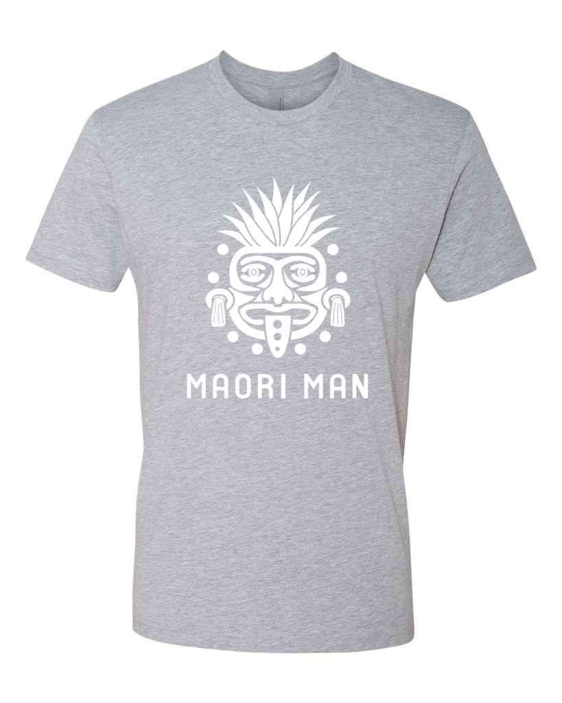 Men's Official Maori Tribesman Gray Tee - White Graphics