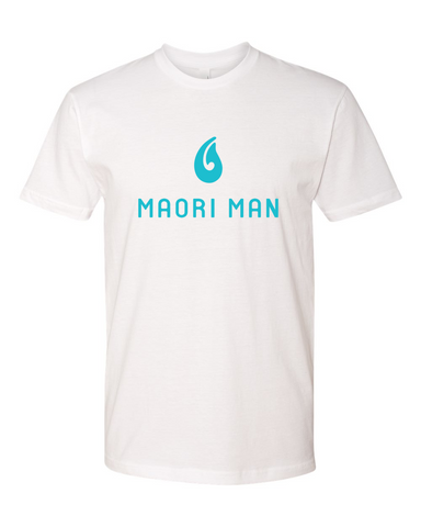 Men's Official Maori Man White Tee - Aqua Graphics