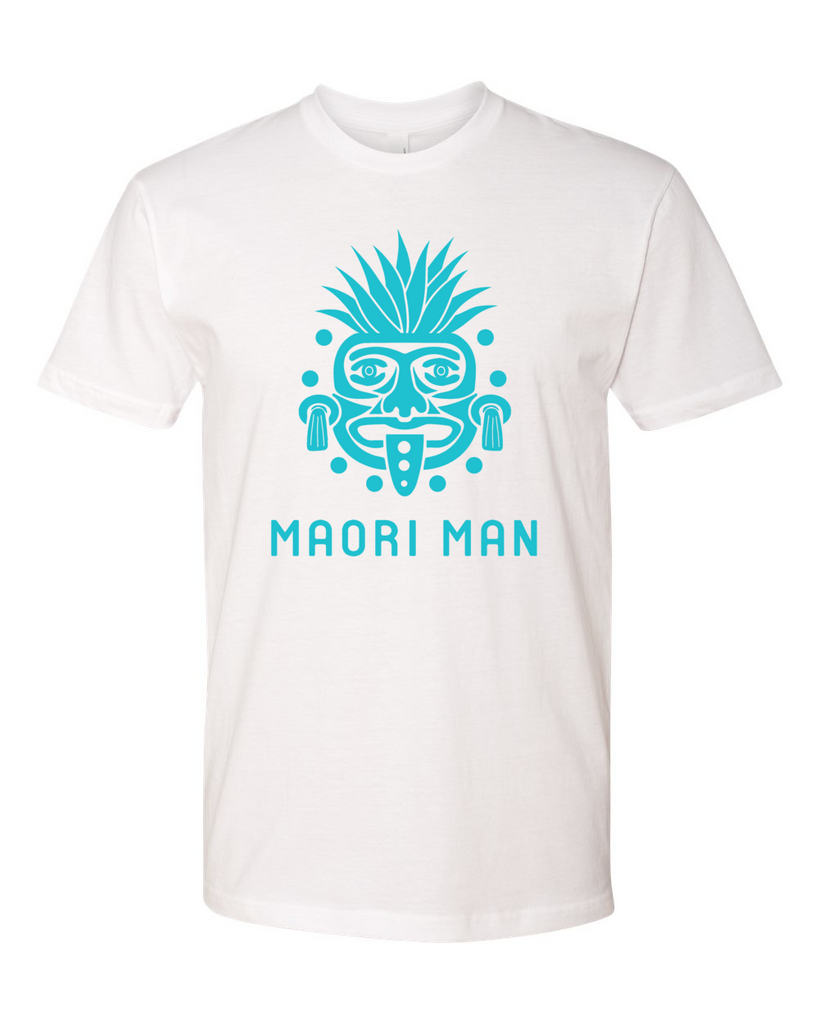 Men's Official Maori Tribesman White Tee - Aqua Graphics