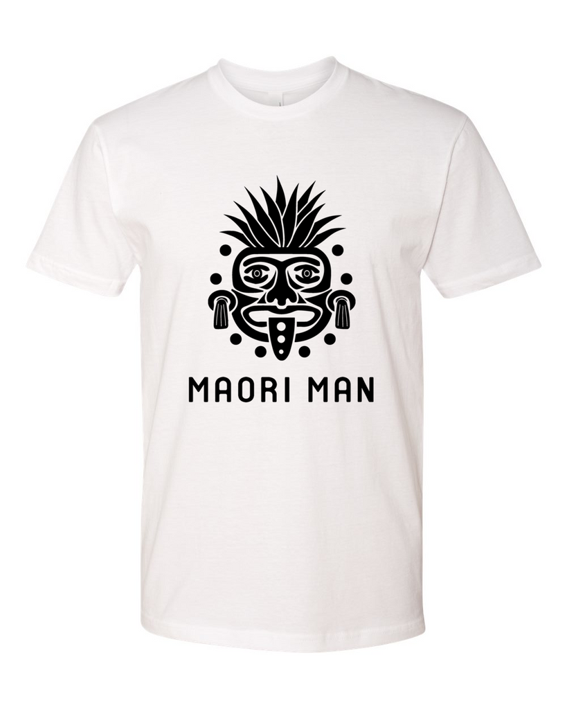 Men's Official Maori Tribesman White Tee - Black Graphics