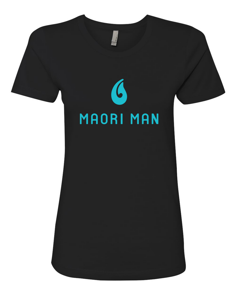 Women's Official Maori Man Black Boyfriend Tee - Aqua Graphics