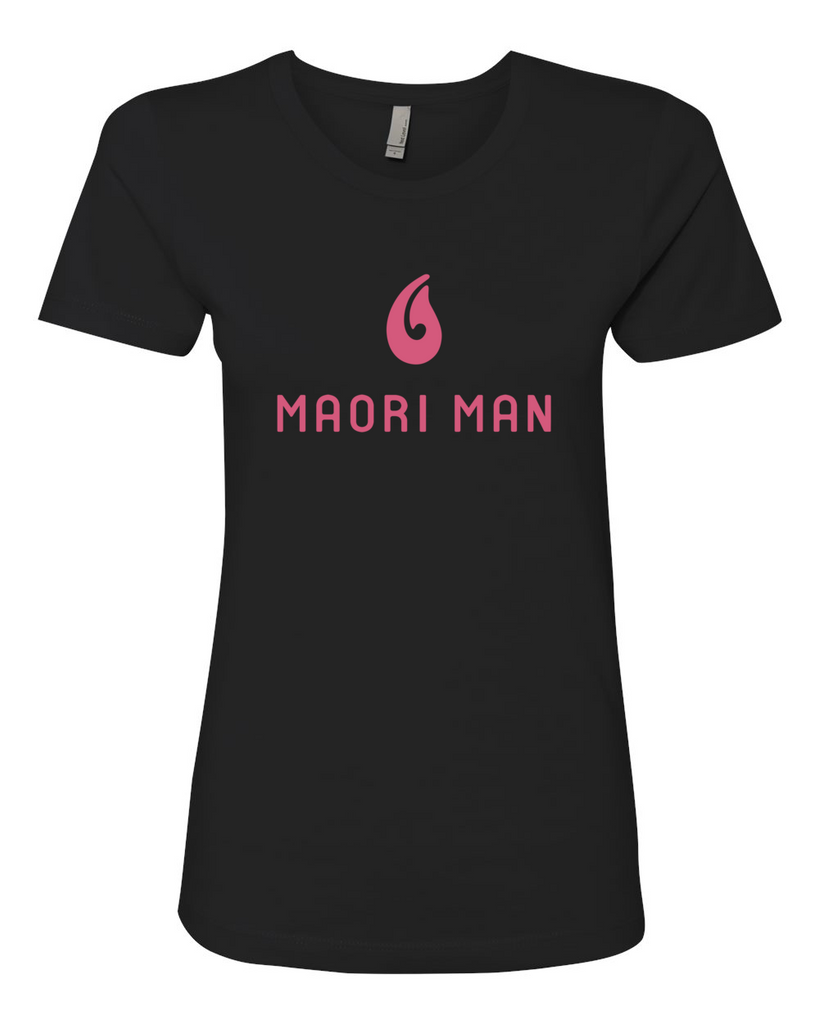 Women's Official Maori Man Black Boyfriend Tee - Pink Graphics