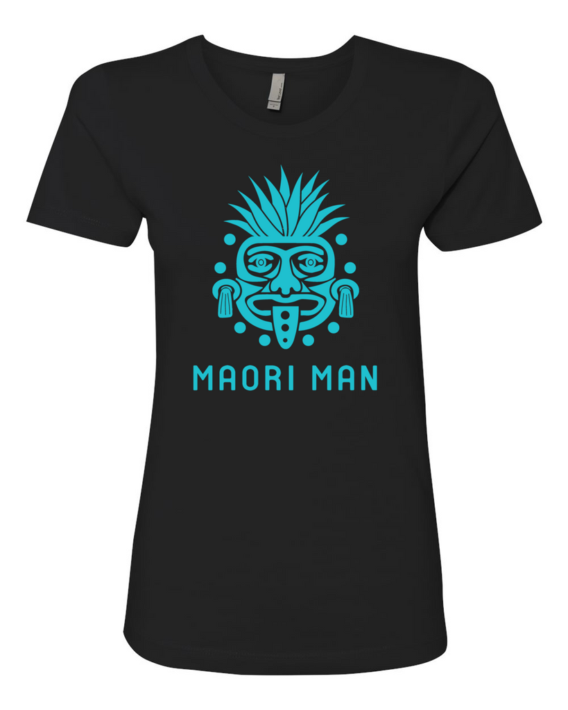 Women's Official Maori Tribesman Black Boyfriend Tee - Aqua Graphics
