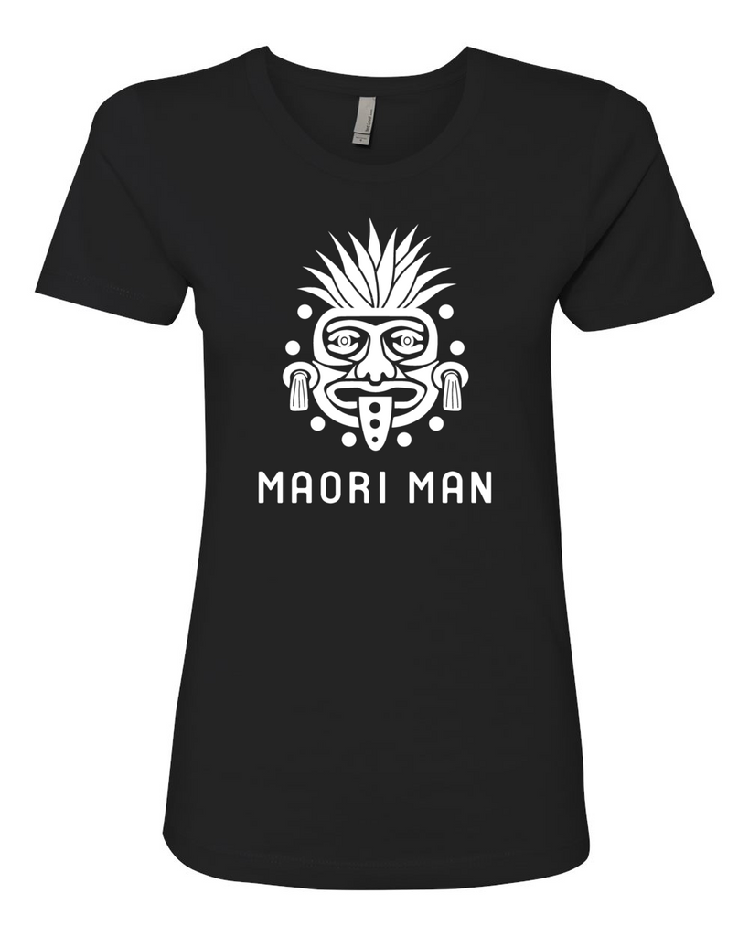 Women's Official Maori Tribesman Black Boyfriend Tee - White Graphics