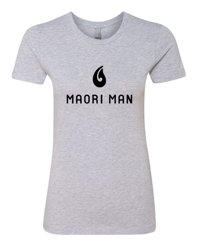 Women's Official Maori Man Gray Boyfriend Tee - Black Graphics
