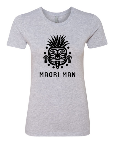 Women's Official Maori Tribesman Gray Boyfriend Tee - Black Graphics