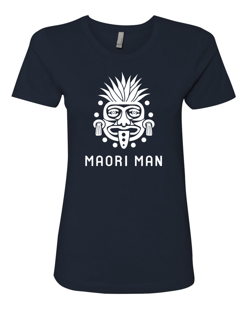 Women's Official Maori Tribesman Navy Boyfriend Tee - White Graphics