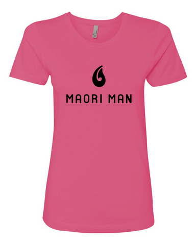 Women's Official Maori Man Hot Pink Boyfriend Tee - Black Graphics