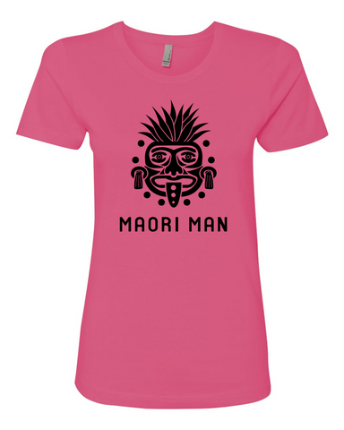 Women's Official Maori Tribesman Hot Pink Boyfriend Tee - Black Graphics