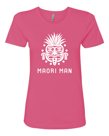 Women's Official Maori Tribesman Hot Pink Boyfriend Tee - White Graphics