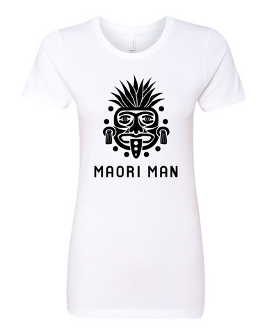 Women's Official Maori Tribesman White Boyfriend Tee - Black Graphics