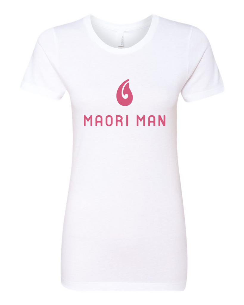 Women's Official Maori Man White Boyfriend Tee - Pink Graphics