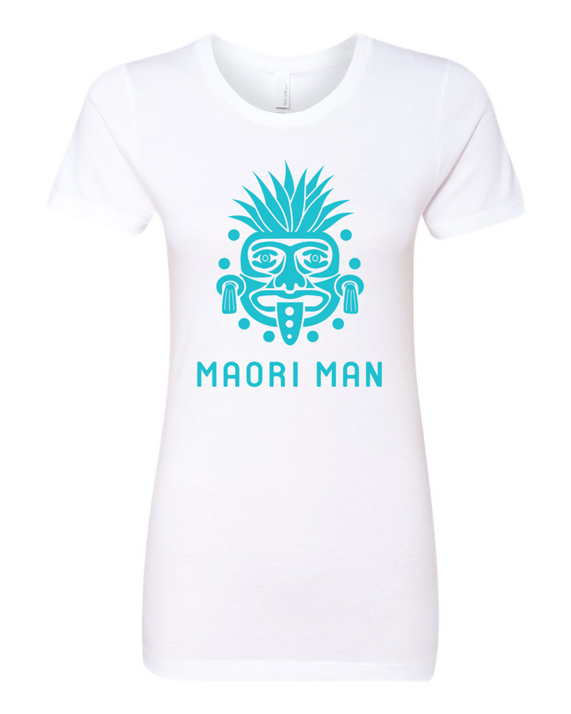 Women's Official Maori Tribesman White Boyfriend Tee - Aqua Graphics