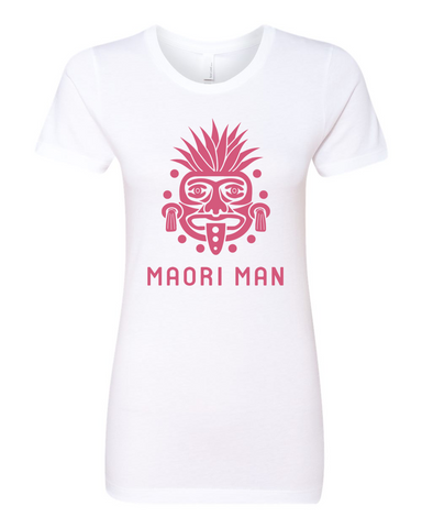 Women's Official Maori Tribesman White Boyfriend Tee - Pink Graphics