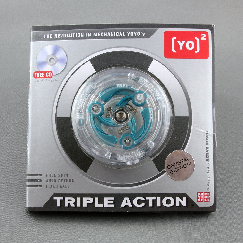 2 TRIPLE ACTION Crystal Edition 3-IN-1 Mechanical YoYo by Swiss ActivePeople YO