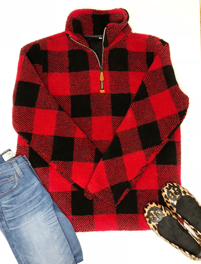 Ready to Ship Buffalo Check Sherpa Pullover - 2 colors - $22.00 x 6