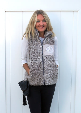Luxe Grit Sherpa Vest with Monogram Patch - $22.00 x 8 Pack
