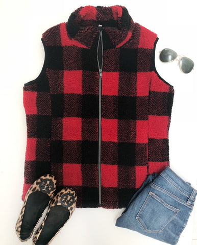 PREORDER Buffalo Check Sherpa Vest - 2 colors - $21.00 x 6