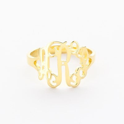 Floating Monogram Gold Plated Ring