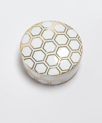 Porcelain Trinket Box - Gold Honeycomb