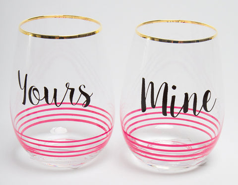 Stemless Wine Glasses - Yours & Mine